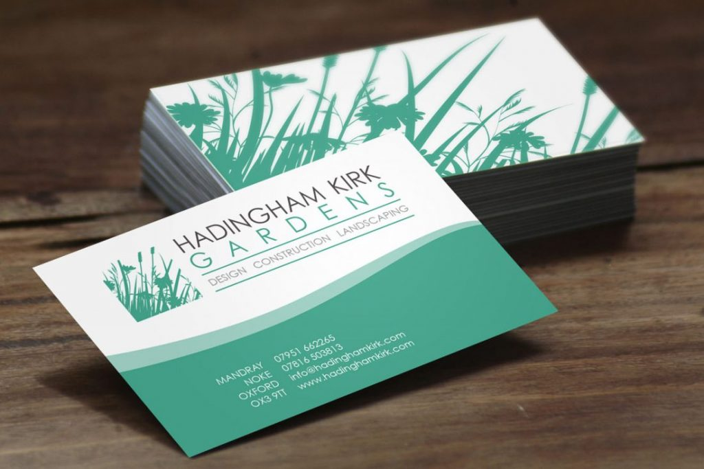 AW Design - business card design for Oxfordshire Landscaping Company Hadingham Kirk Gardens