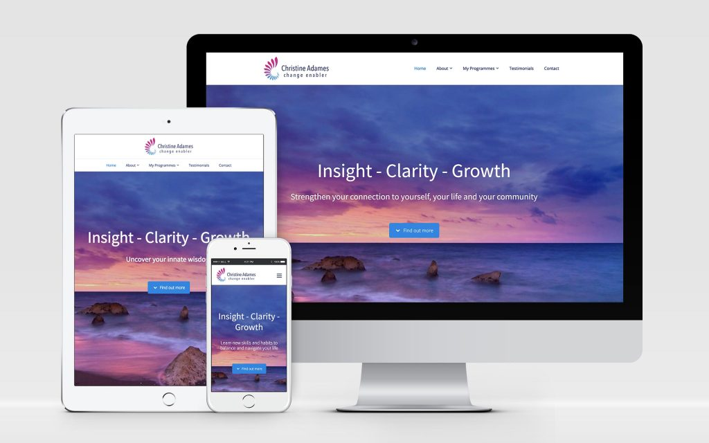 AW Design - website design & graphic design for Oxfordshire life coach & business coach Christine Adames