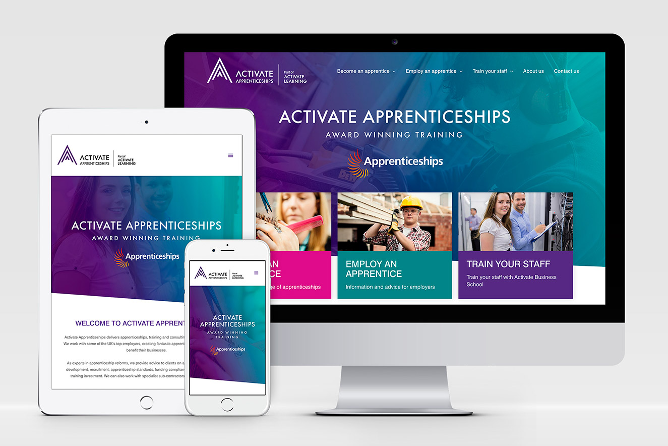 AW Design - website design & graphic design for Activate Apprenticeships, Activate Learning