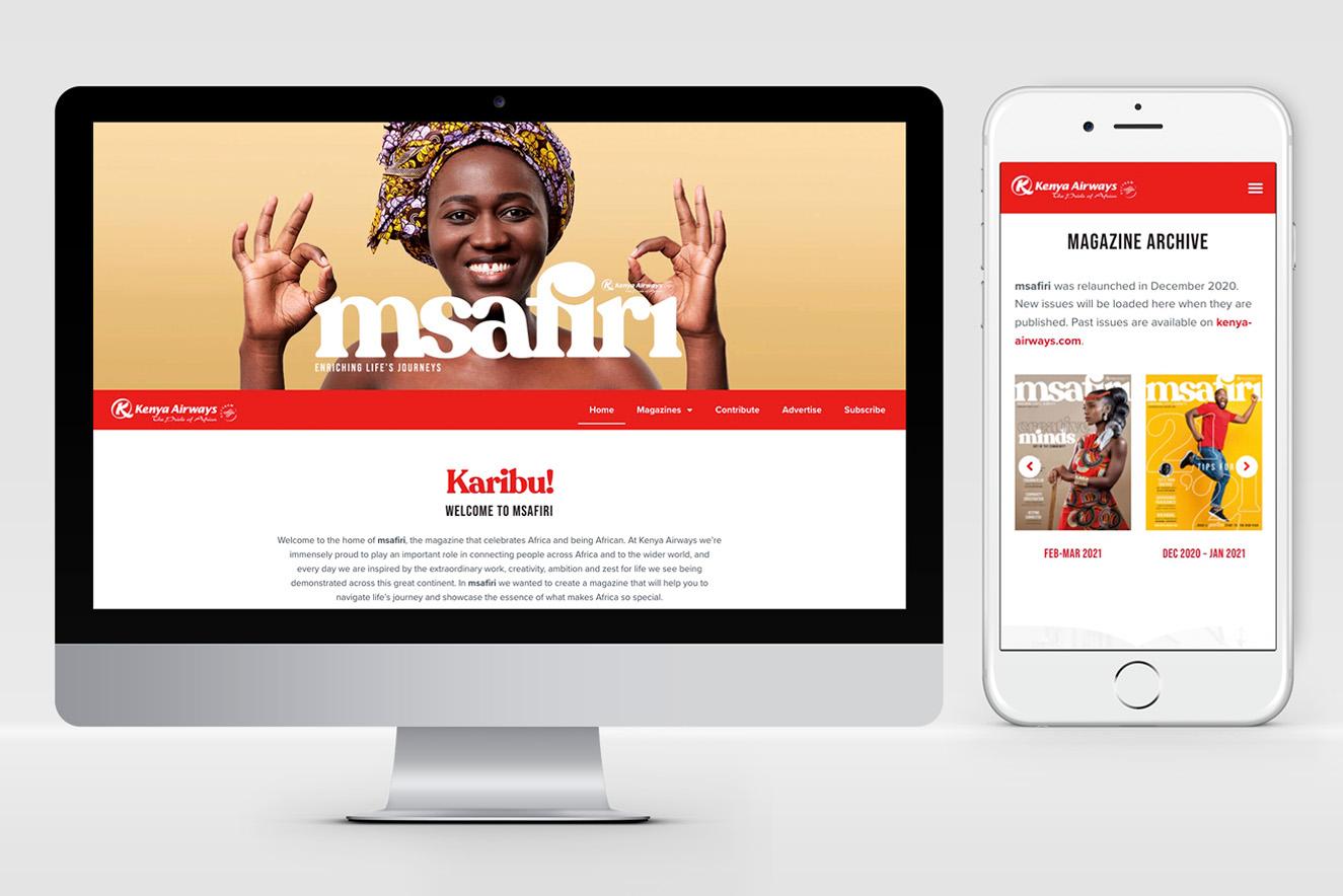 AW Design - website design & graphic design for Msafiri Magazine from Kenya Airways