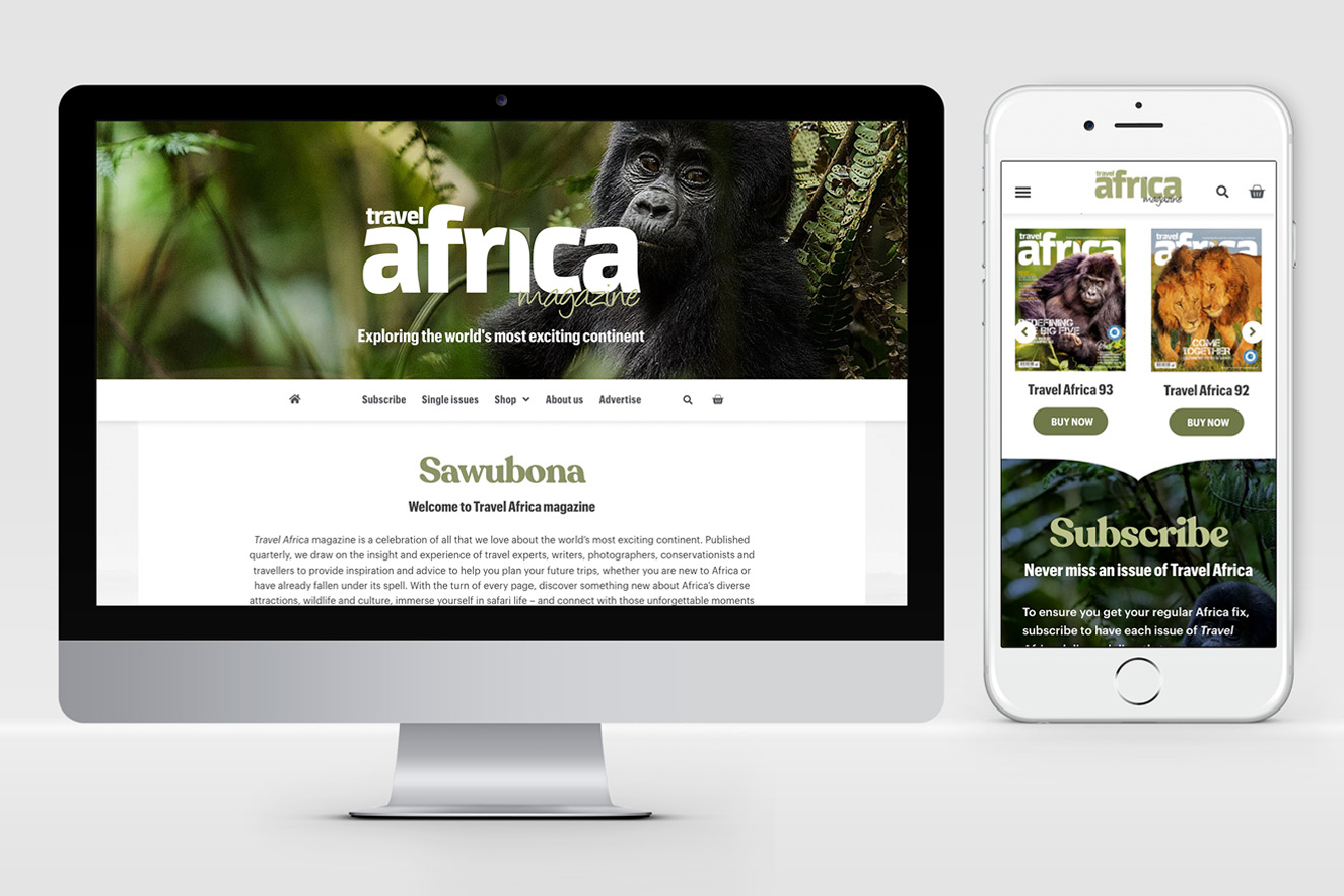 AW Design - website design & graphic design for Travel Africa Magazine